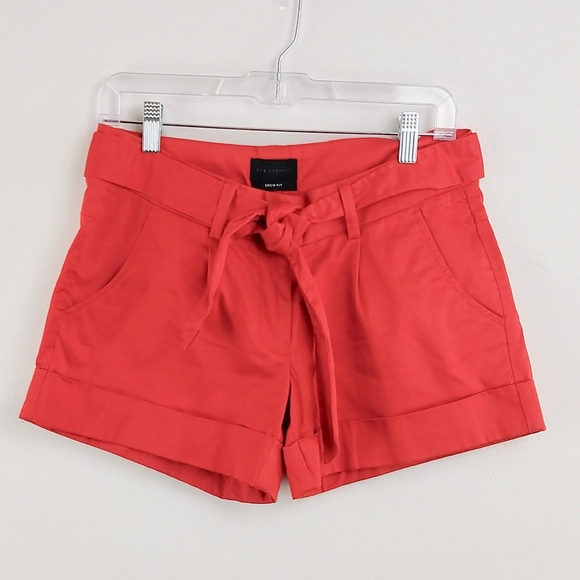 The Limited Drew Fit Tie Belt Cherry Red Shorts 6